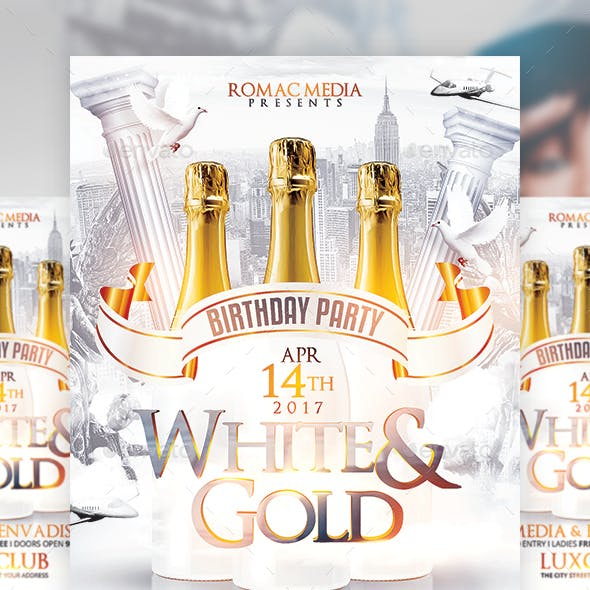 White and Gold Birthday Bottle Party