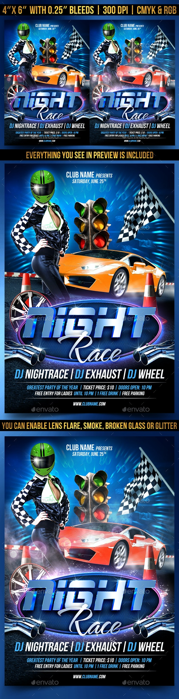 Night Race Flyer Template - Events Flyers