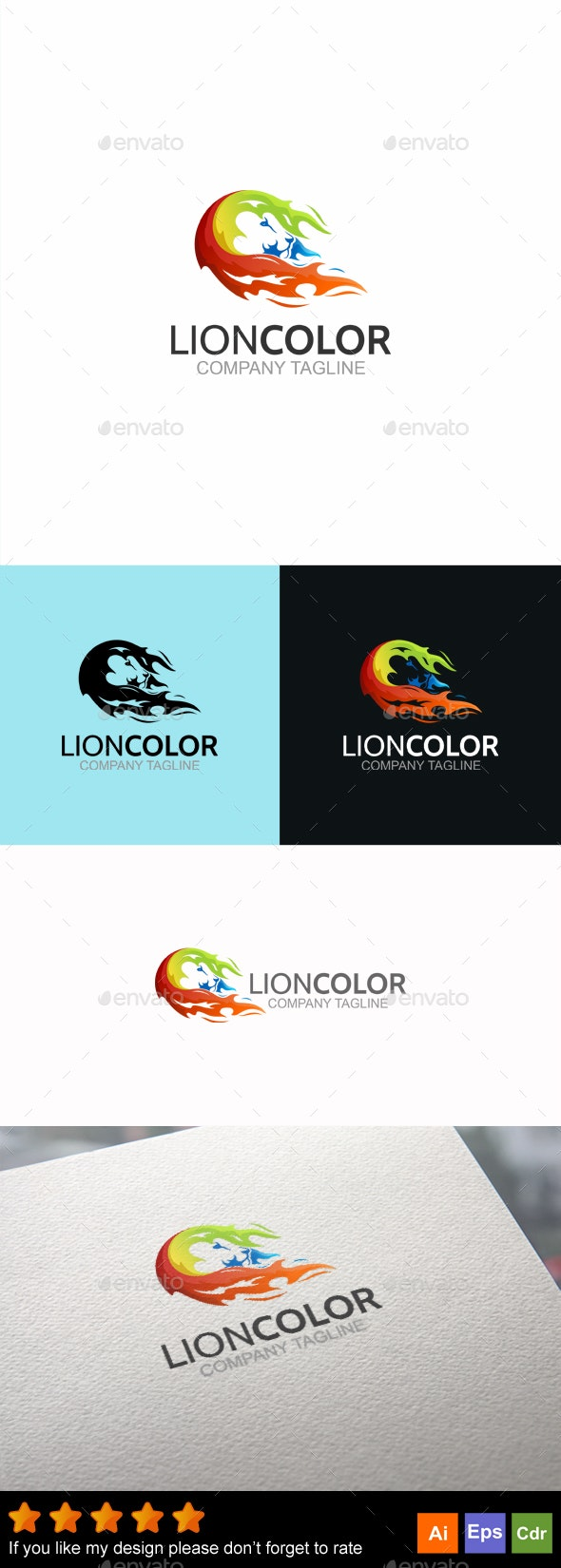 Lion Color - Animals Logo Templates