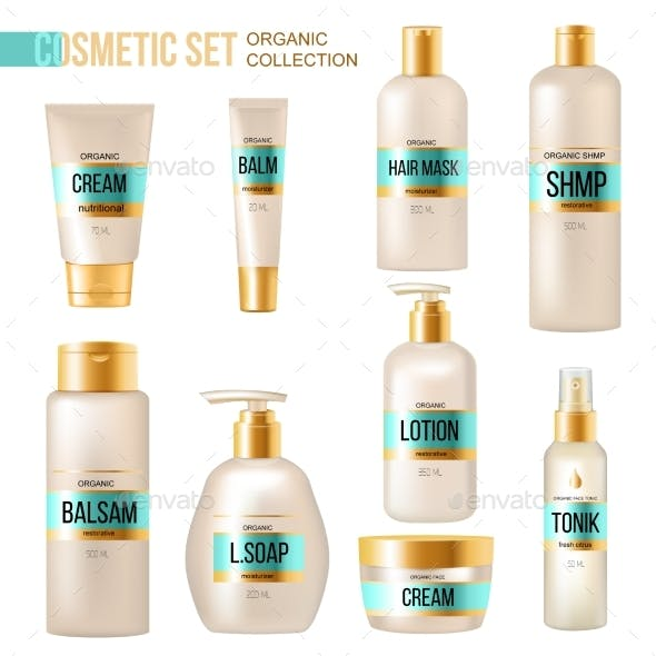 Cosmetic Beauty Products Luxury Realistic  Set