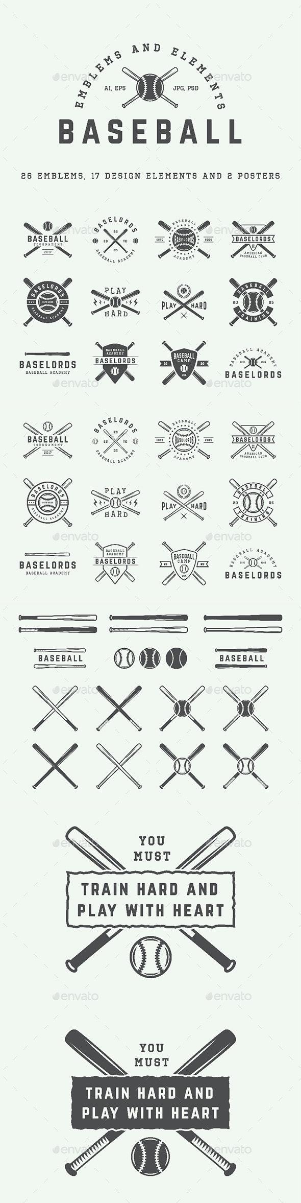 26 Baseball Emblems - Badges & Stickers Web Elements