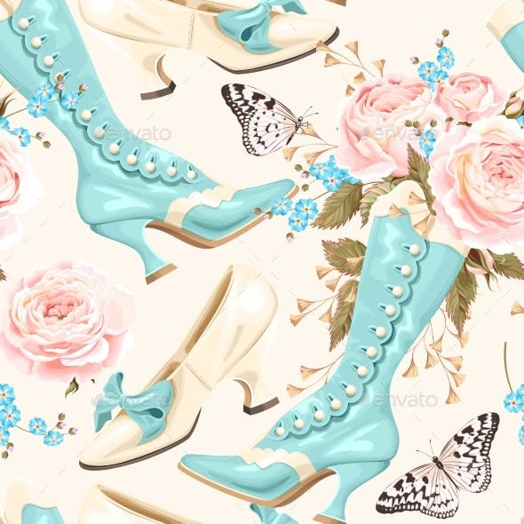 Vintage Shoes Seamless Background