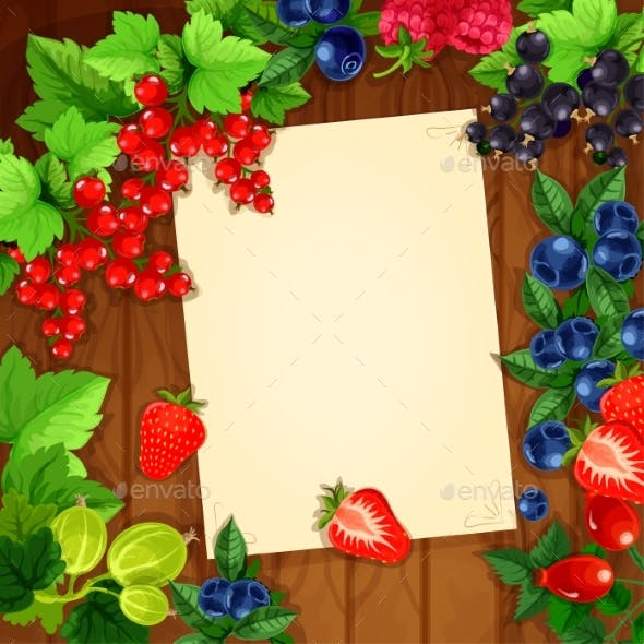Berries Recipe or Message Note Blank Form