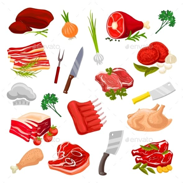 Butchery Meat, Butcher Shop Products Icons