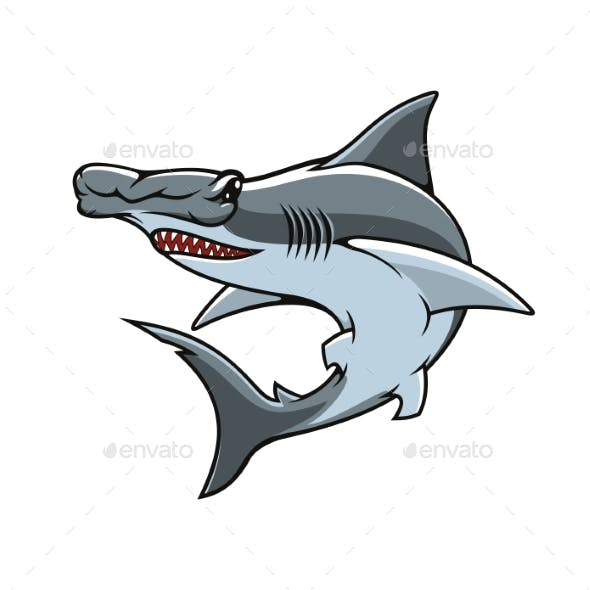 Hammerhead Shark Isolated Vector Mascot Icon
