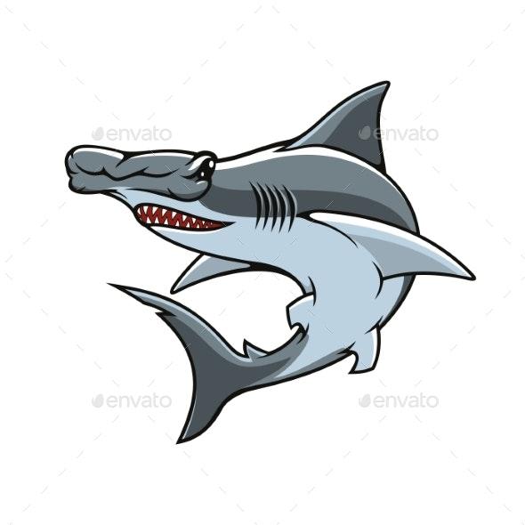 Hammerhead Shark Isolated Vector Mascot Icon - Animals Characters