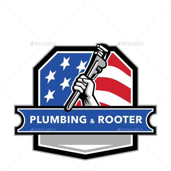 Plumber Hand Pipe Wrench USA Flag Crest Retro