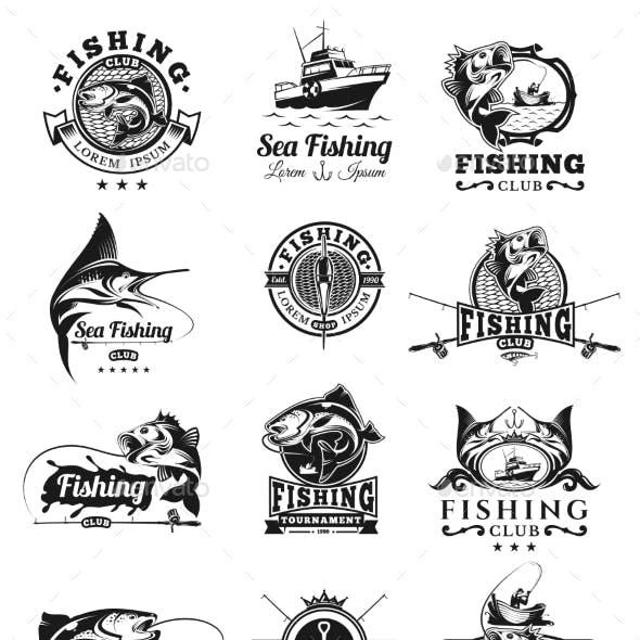 Set of Vector Fish Badges