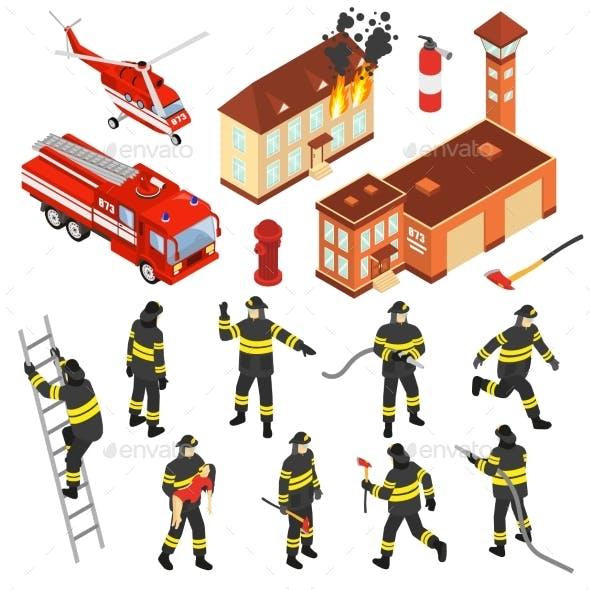 Isometric Fire Department Icon Set