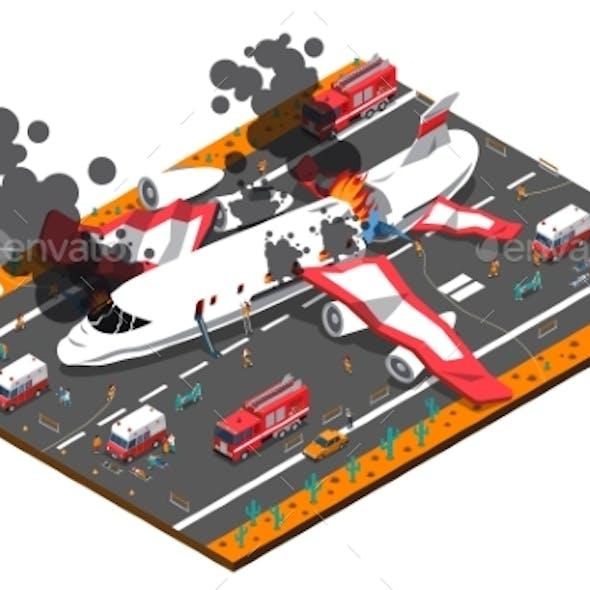 Airplane Crash Isometric Composition