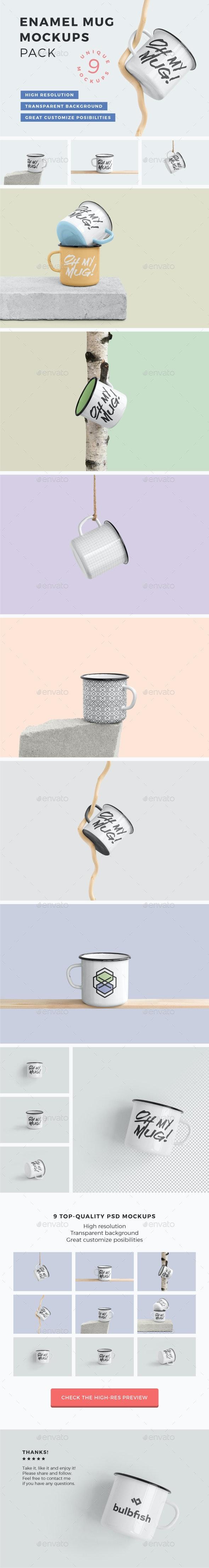 Enamel Mug Mockups Pack - Food and Drink Packaging