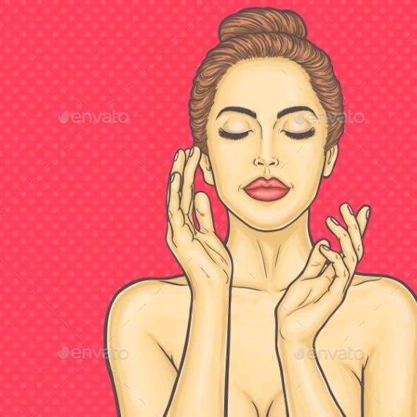 Pop Art Young Woman Makes a Face Massage