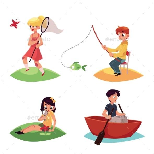 Kid Chasing Butterflies, Fishing, Kayaking and Studying Flowers