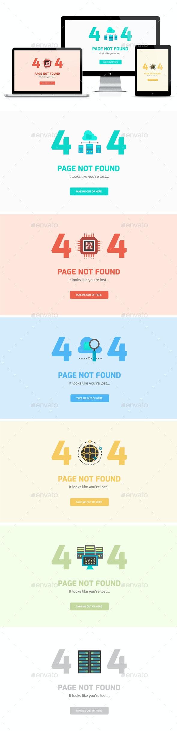 404 Error Webpages - Flat UI Design - 6 items - PSD - 404 Pages Web Elements