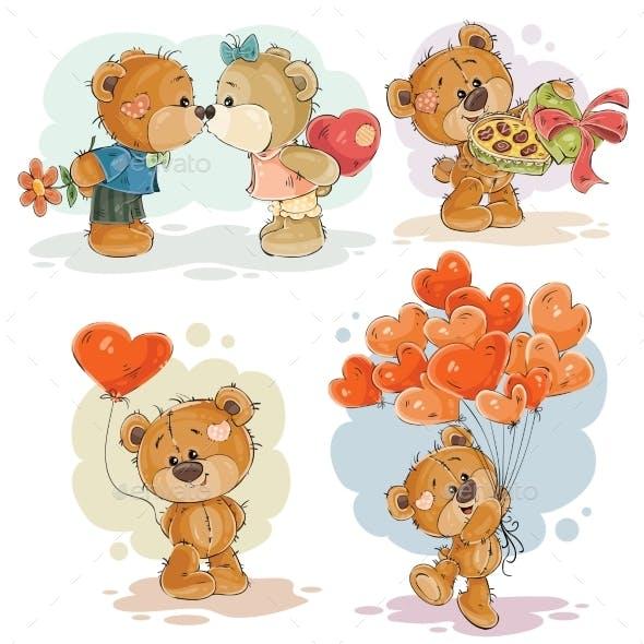 Clip Art Illustrations of Enamored Teddy Bear