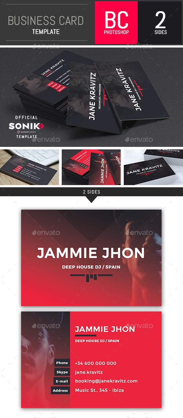 SONIK: Dj and Musician Business Card Photoshop Template - Business Cards Print Templates