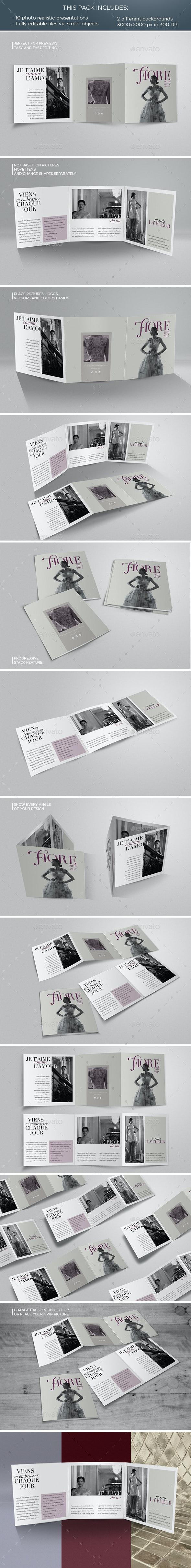Tri-Fold Square Flyer Mockup - Brochures Print