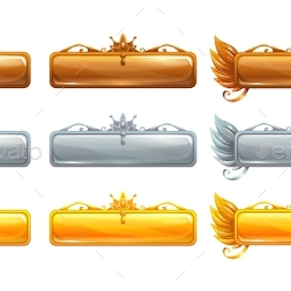 Cartoon Vector Title Banners Set for Game