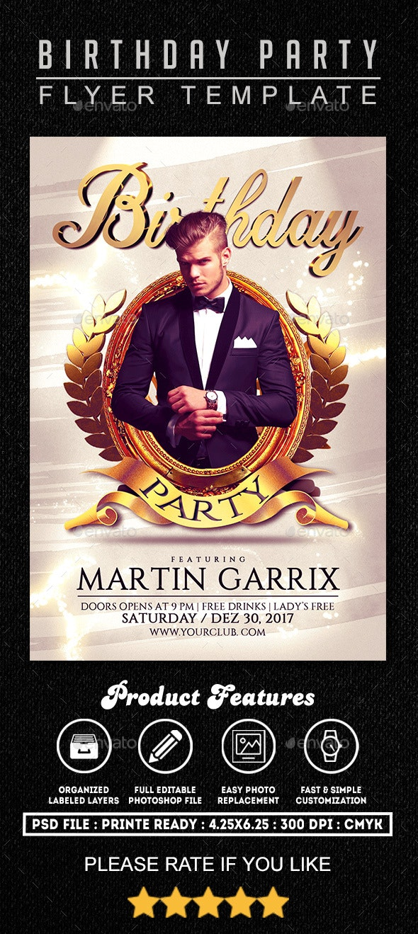 Birthday Party Flyer Template - Clubs & Parties Events