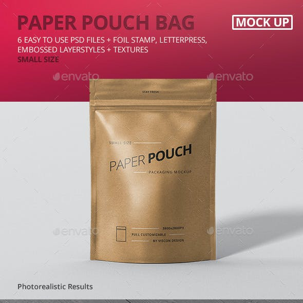 Paper Pouch Bag Mockup Small Size