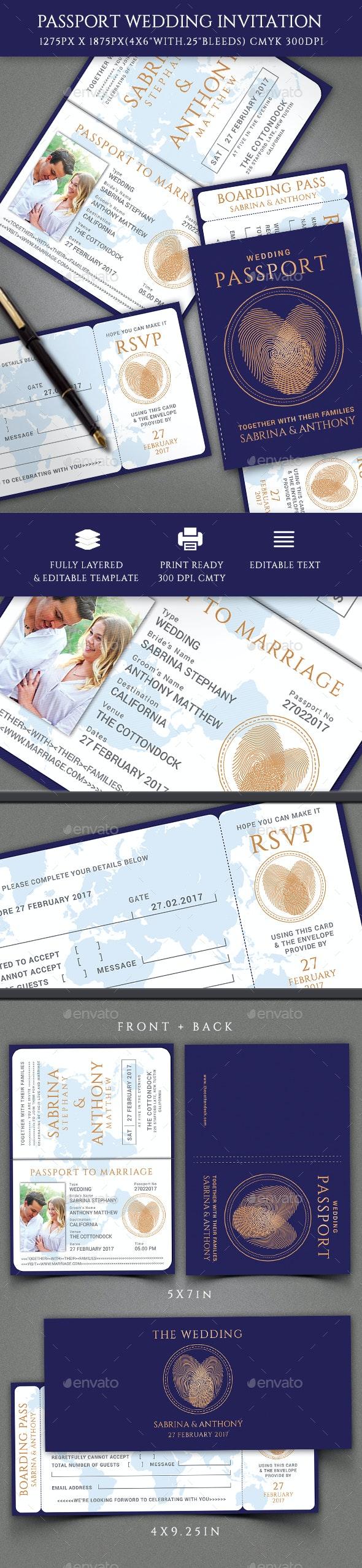 Passport Wedding Invitation - Invitations Cards & Invites