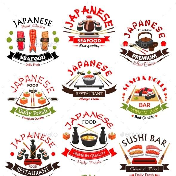 Sushi Seafood Sashimi Vector Icons Set