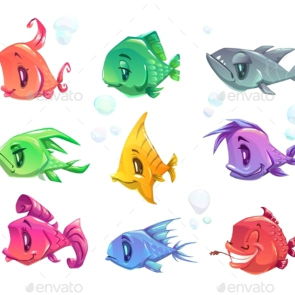 Funny Cartoon Colorful Fishes Set.