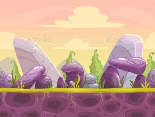 Cartoon Fantasy Seamless Landscape - Backgrounds Game Assets