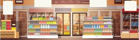 Big Shop Super Market Shopping Mall Interior - Retail Commercial / Shopping