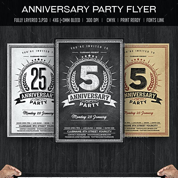 Anniversary Party Chalk Flyer
