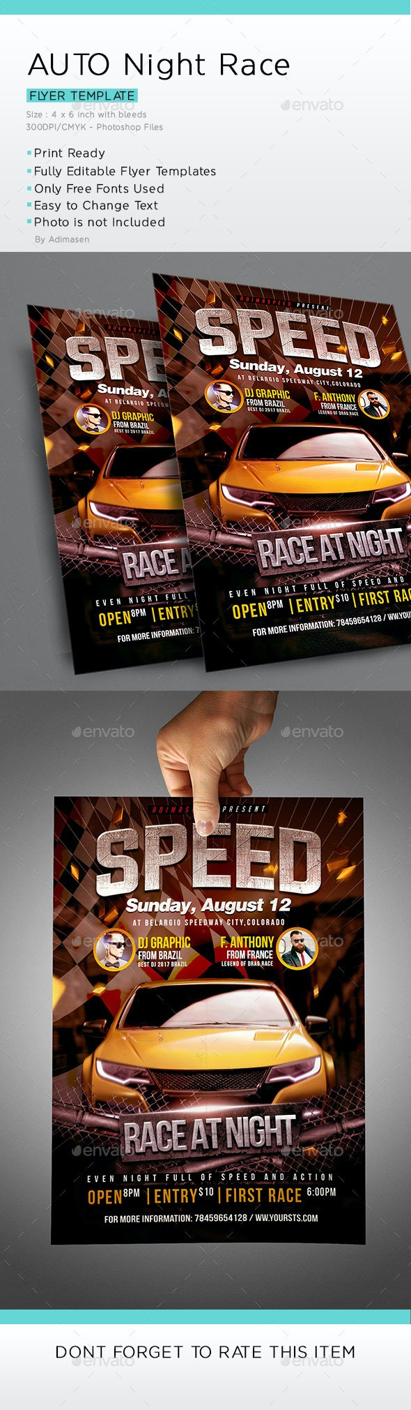 Auto racing Flyer Template by adimasen | GraphicRiver