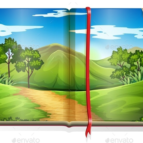 Book with Mountain and Forest Scene