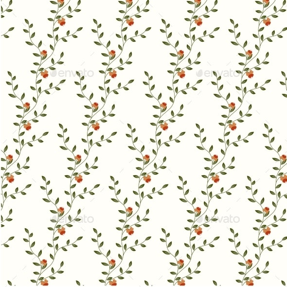 Retro Floral Pattern with Flowers - Backgrounds Decorative
