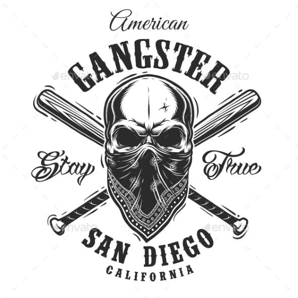 Gangster Emblem with Skull in Bandana