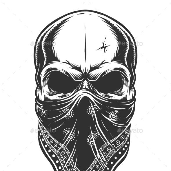 Illustration of Skull in Bandana on Face