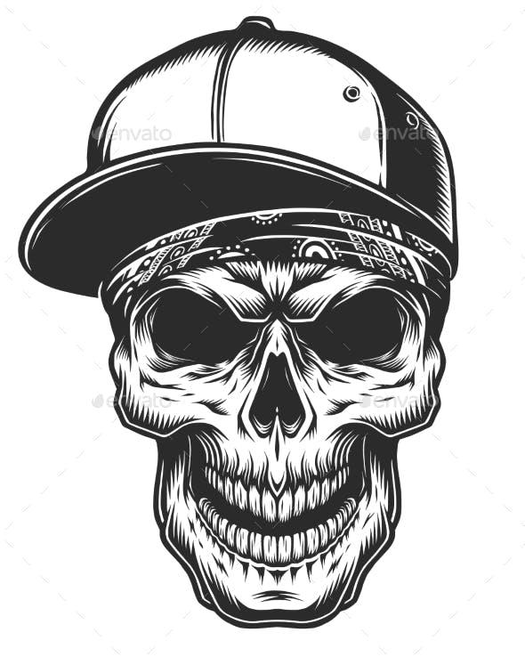 8f274994787 Illustration of Skull in Bandana and Baseball Cap - Tattoos Vectors