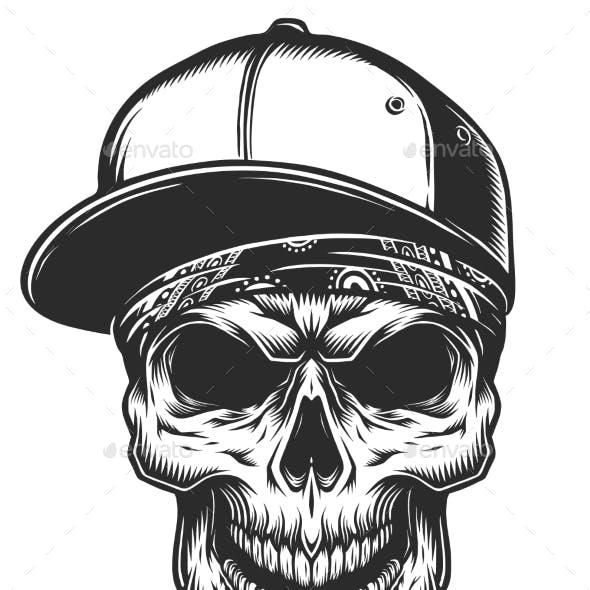 Illustration of Skull in Bandana and Baseball Cap