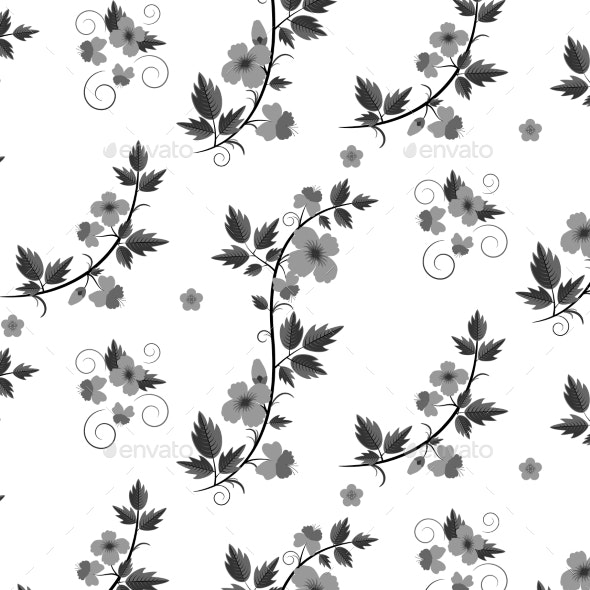 Retro Floral Pattern with Flowers