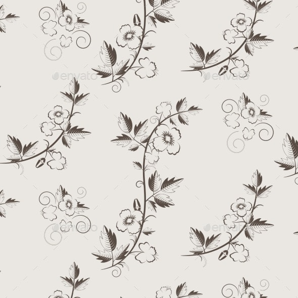 Retro Floral Pattern with Flowers - Patterns Decorative