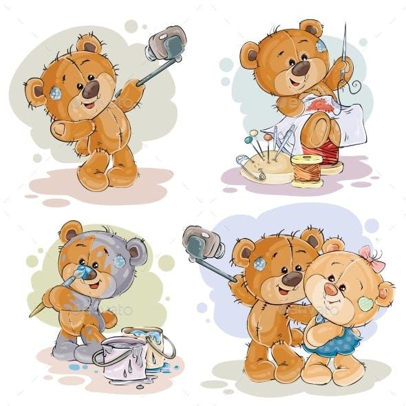 Clip Art Illustrations of Enamored Teddy Bears