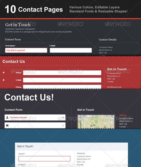 10 Contact Page Templates - Forms Web Elements