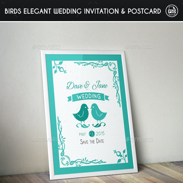 Birds Elegant Wedding Invitation & Post Card