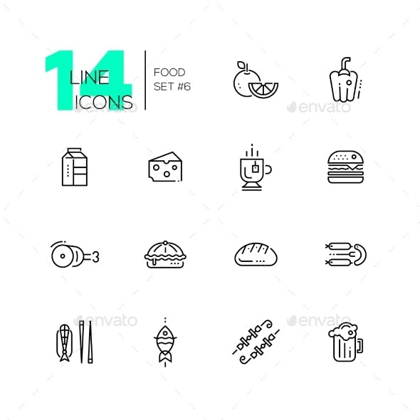 Kinds of Food Line Icons Set