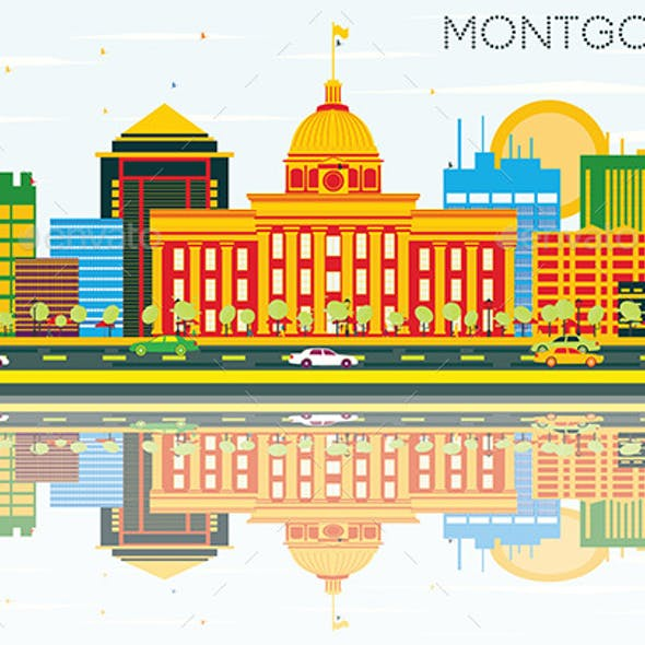 Montgomery Skyline with Color Buildings, Blue Sky and Reflections.