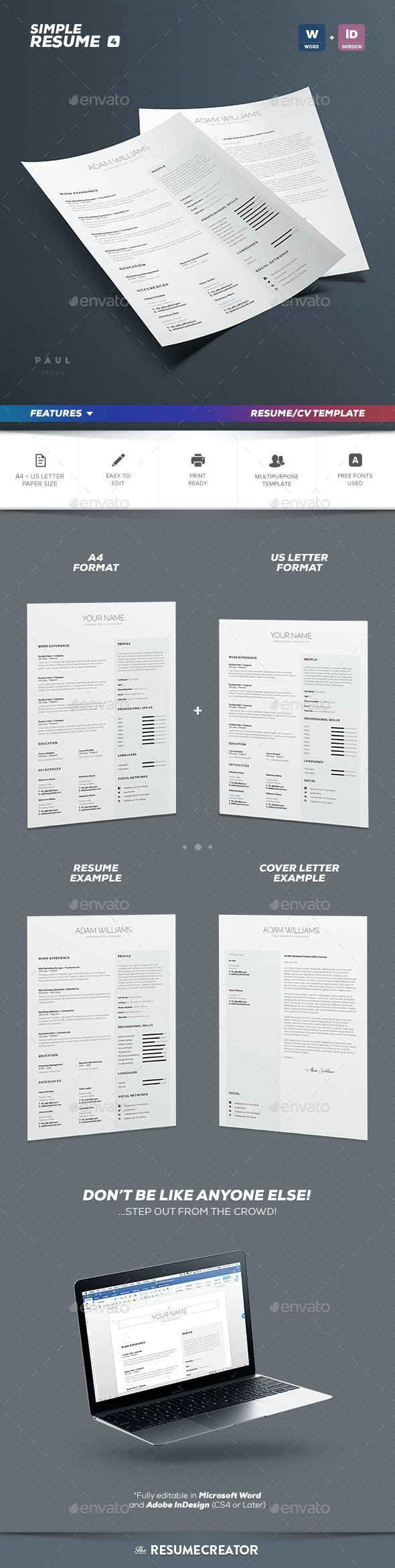 Simple Resume/Cv Volume 4 - Resumes Stationery