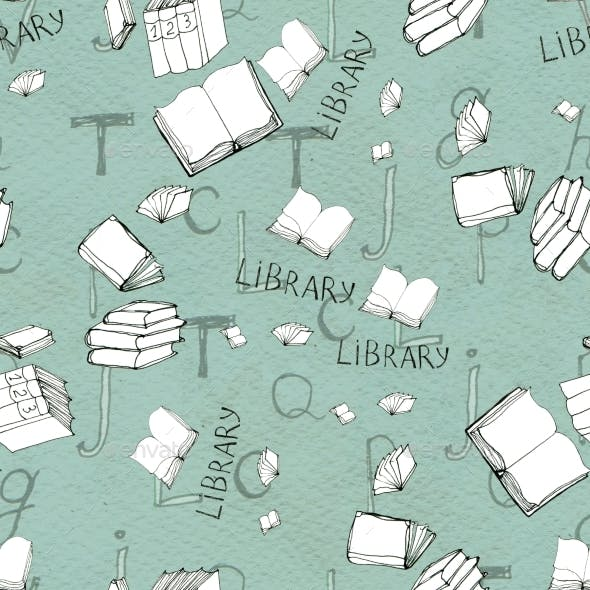 Seamless Pattern with Books