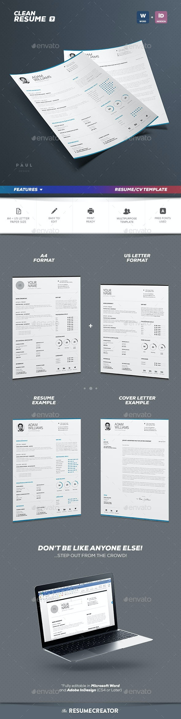 Clean Resume Vol. 7 - Resumes Stationery