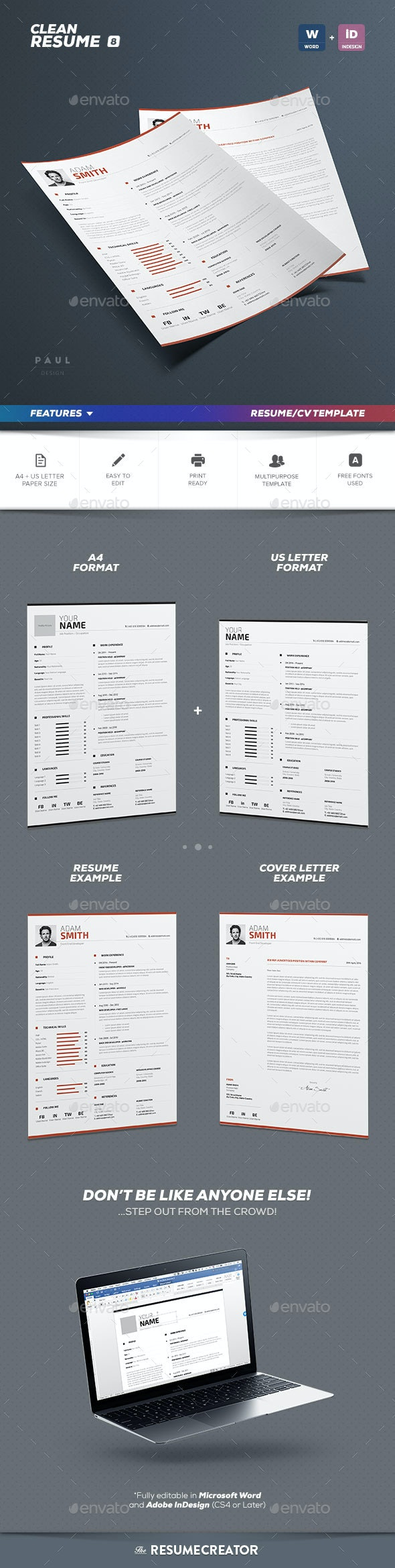 Clean Resume Vol. 8 - Resumes Stationery