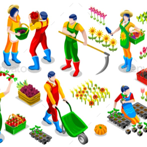 Isometric Farmer People 3D Icon Collection Vector Illustration