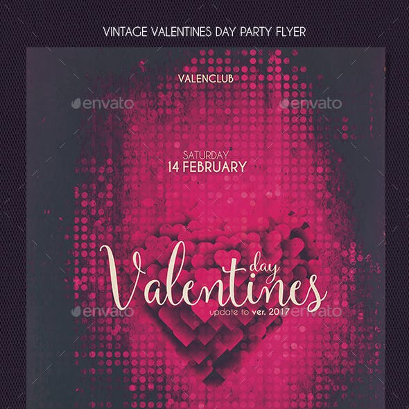 Vintage Valentines Day Party Flyer